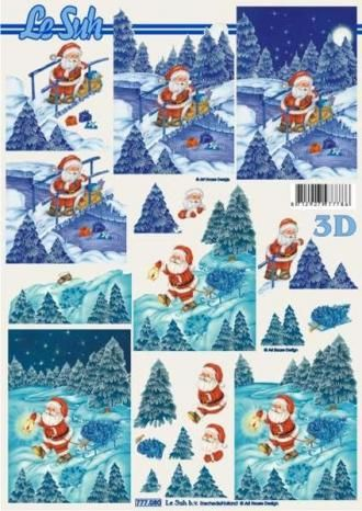 Santa v lese - 3D papír