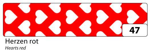 Washi Tape - dekorační lepicí páska - 10mx15mm -červená a bílé srdce Folia