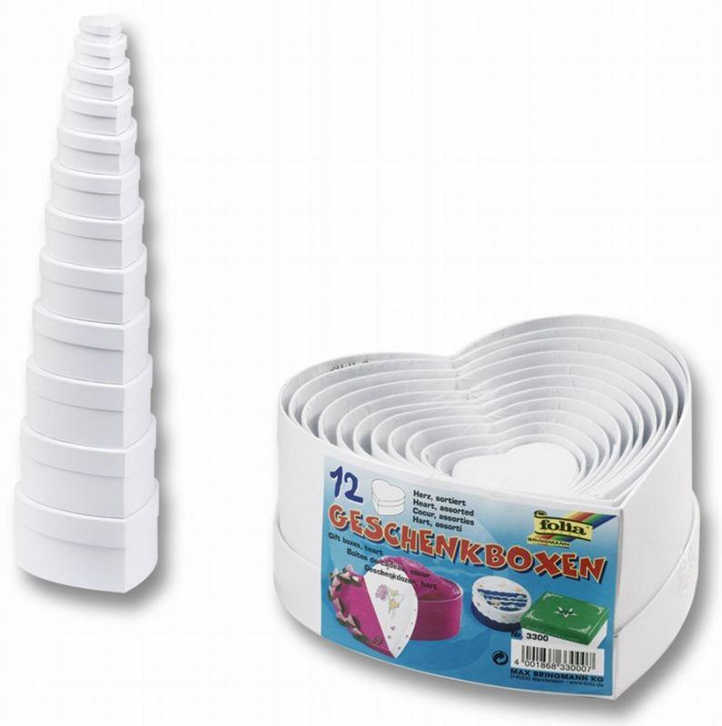 Dárkové krabičky 12 ks srdcová bílá