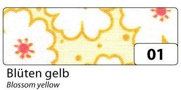 Fabric Tape - dekorační lepicí látková páska - 4m x 15mm žluté květy