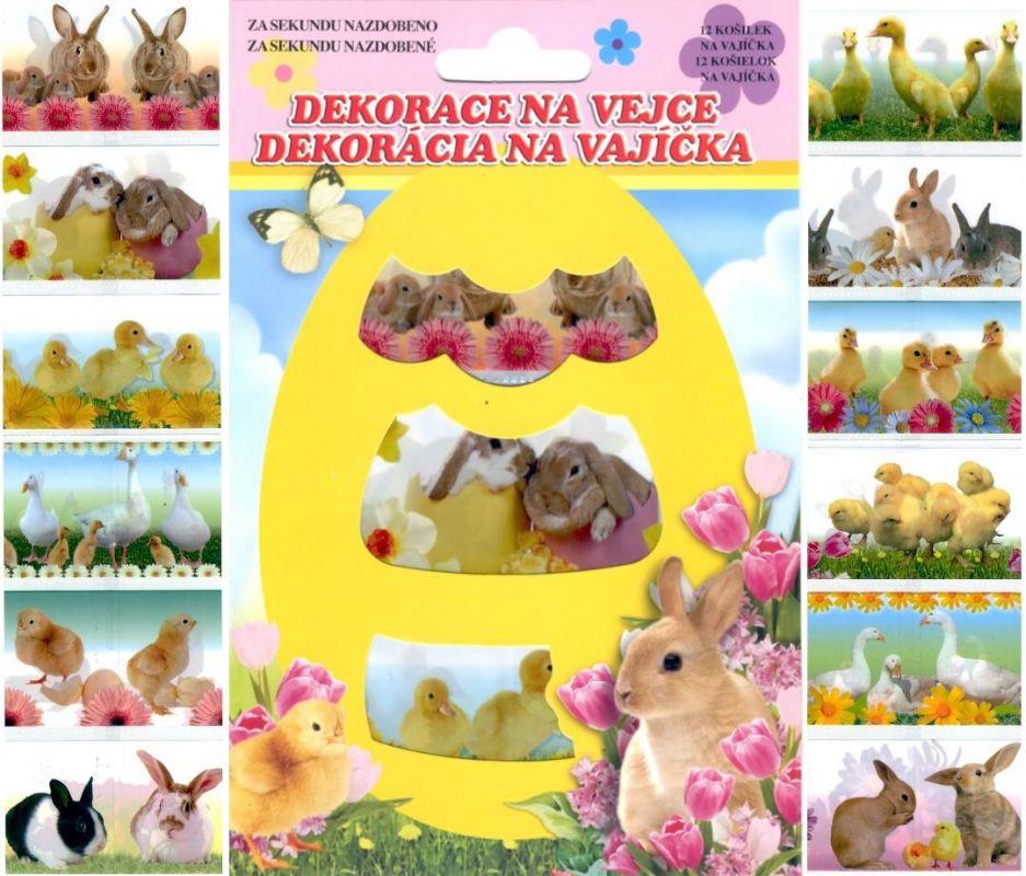 Folie na vajíčka - košilky živá zvířátka 12 ks