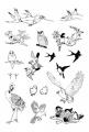 Gelová razítka - sada Ptáci 20x30 cm