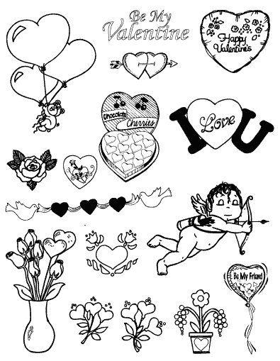 Gelová razítka - sada Valentýn ostatní