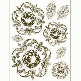 Gelová razítka - Zdobené kytky a lístky 15x20cm