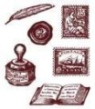 Gelová razítka - Známky, pečeť, kalamář 7x8,5cm