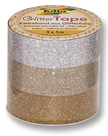 Glitter Tape - 3ks dekorační lepicí páska se třpytkami - 5x15mm Folia