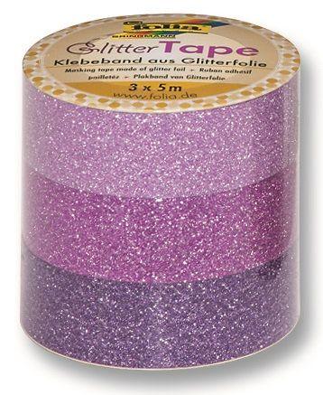 Glitter Tape - 3ks dekorační lepicí páska se třpytkami - 5x15mm růžová Folia