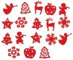 Mix filcových dekorací - Vánoce červený mix 18ks