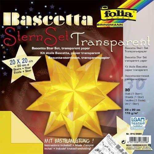 Origami hvězda Bascetta 30 listů 20x20 cm - žlutá Folia