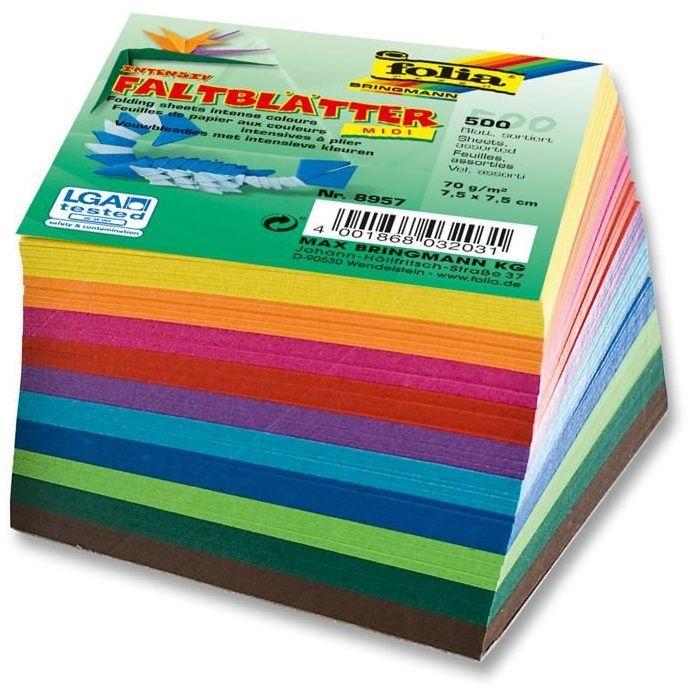 Papíry na skládání Origami 500 listů, 10x10 cm v 10-ti barvách, 70g - mix barev Folia