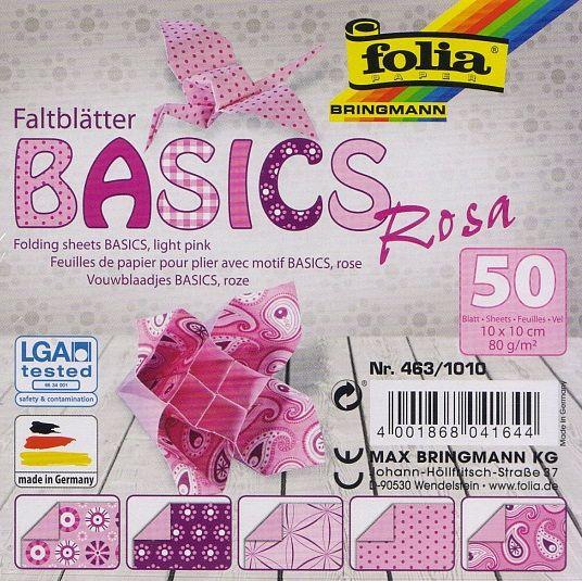 Papíry na skládání Origami - růžové 50 listů 10x10 cm, 80g Folia