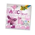 Papíry na skládání Origami - růžové 50 listů 20x20 cm