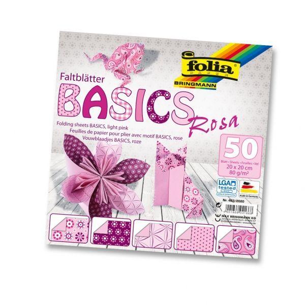 Papíry na skládání Origami - růžové 50 listů 20x20 cm, 80g