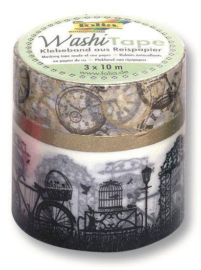 Washi Tape - dekorační lepicí Cestování v čase 3ks Folia