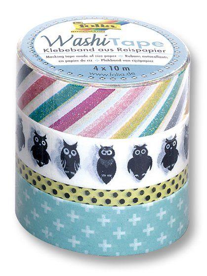 Washi Tape - dekorační lepicí páska - sada Sovy Folia