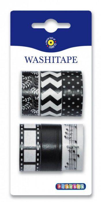 Washi Tape - sada černá a bílá set 6ks PLAYBOX