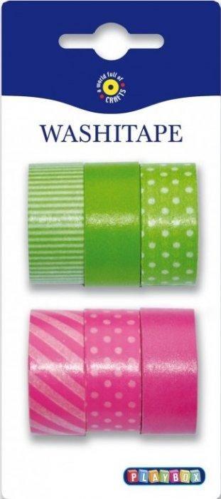 Washi Tape - sada růžová a zelená set 6ks