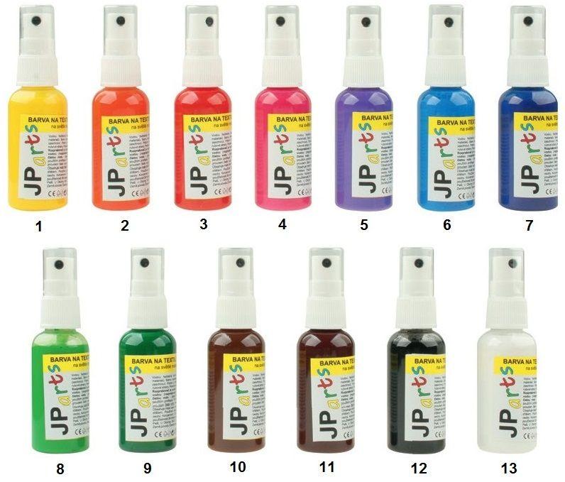 Barvy na textil ve spreji, na světlé materiály, základní odstíny 50g JP Arts
