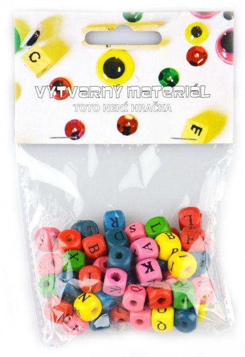 Dřevěné korálky abeceda barevné - 10mm, 60ks ostatní