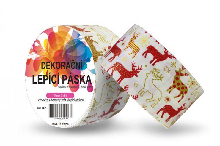 Duct Tape - dekorační lepicí páska - 5m x 48mm - ČERVENÍ SOBI ostatní