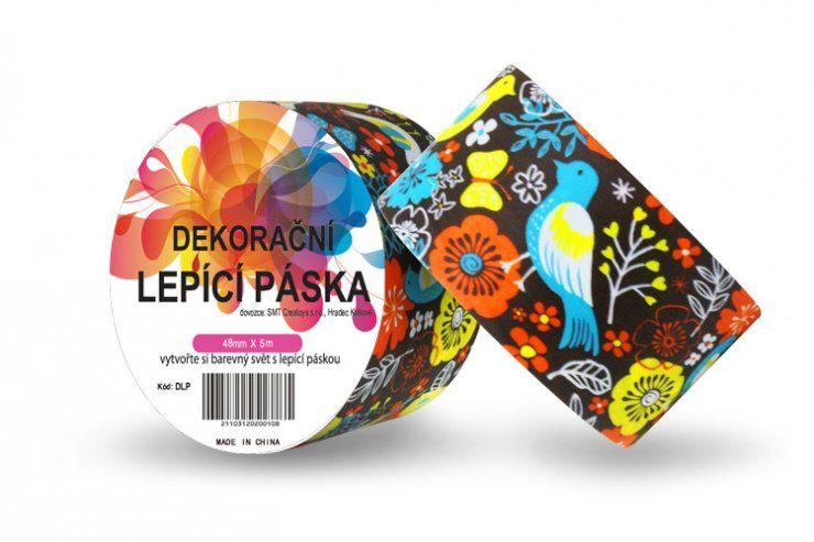 Duct Tape - dekorační lepicí páska - 5m x 48mm - PTÁČKOVÉ V HNĚDÉ ostatní