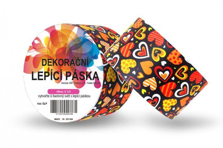 Duct Tape - dekorační lepicí páska - 5m x 48mm - SRDÍČKA V ČERNÉ ostatní