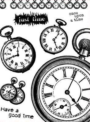 Gelová razítka - Have a good time - hodiny 15x20cm ostatní