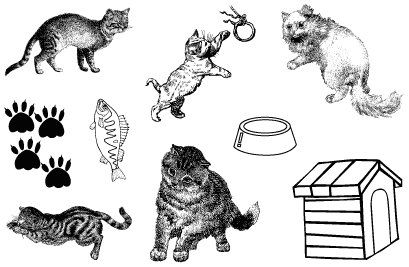 Gelová razítka - sada Kočky 10 x 15 cm ostatní