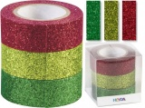 Glitter Tape - 3ks dekorační lepicí páska se třpytkami - 15mmx3m zelená/červená