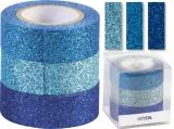 Glitter Tape - 3ks dekorační lepicí páska se třpytkami - 15mmx3m modrý mix