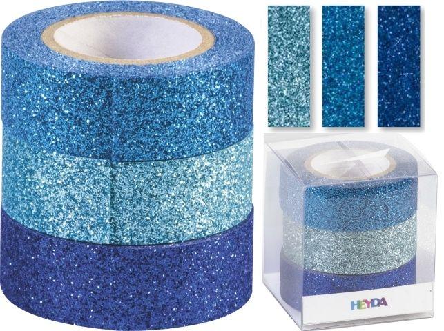 Glitter Tape - 3ks dekorační lepicí páska se třpytkami - 15mmx3m modrý mix HEYDA