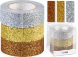 Glitter Tape - 3ks dekorační lepicí páska se třpytkami - 15mmx3m měď/zlatá/stříbrná