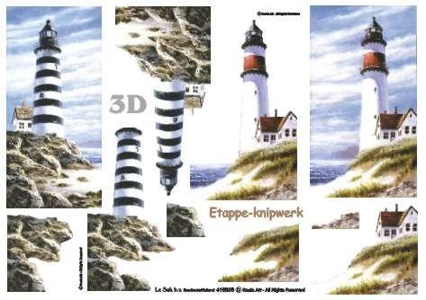 Majáky s domkem - 3D papír