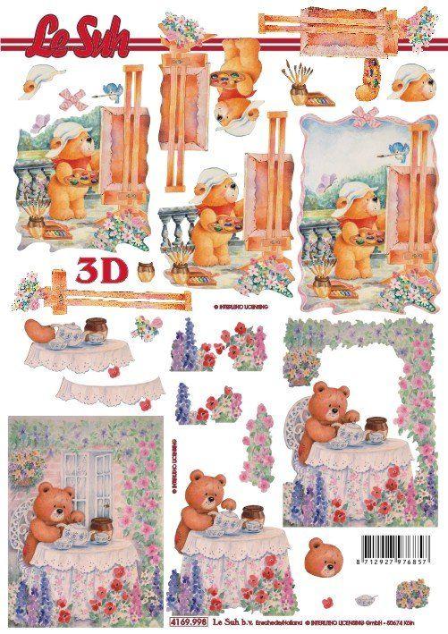 Medvídek na terase - 3D papír