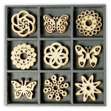 Mix dřevěných dekorací - MOTÝLCI 45 ks