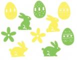 Mix filcových dekorací - 3,5 cm, 30 ks v krabičce (zajíci,kytičky,vajíčka)