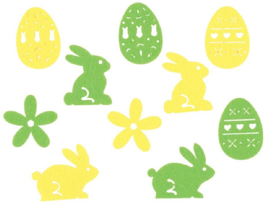 Mix filcových dekorací - 3,5 cm, 30 ks v krabičce (zajíci,kytičky,vajíčka) Andel