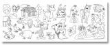 Role papíru na kreslení s potiskem dětských motivů - samolepící omalovánky 30x400 cm