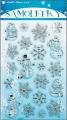 Samolepky plastické sněhuláčci stříbrno-modré 25x14cm