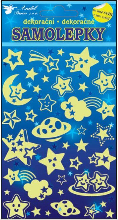 Samolepky svítící ve tmě hvězdičky 19x10cm Andel