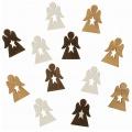 Výseky dřevěné - andělíčci s hvězdou 4 cm, 3 barvy - 12 ks