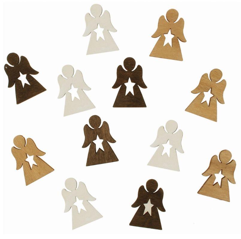 Výseky dřevěné - andělíčci s hvězdou 4 cm, 3 barvy - 12 ks ostatní