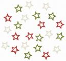 Výseky dřevěné - hvězdičky 2 cm, 3 barvy - 24 ks