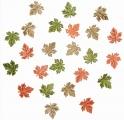 Výseky dřevěné - listy 2 cm, 3 barvy - 24ks