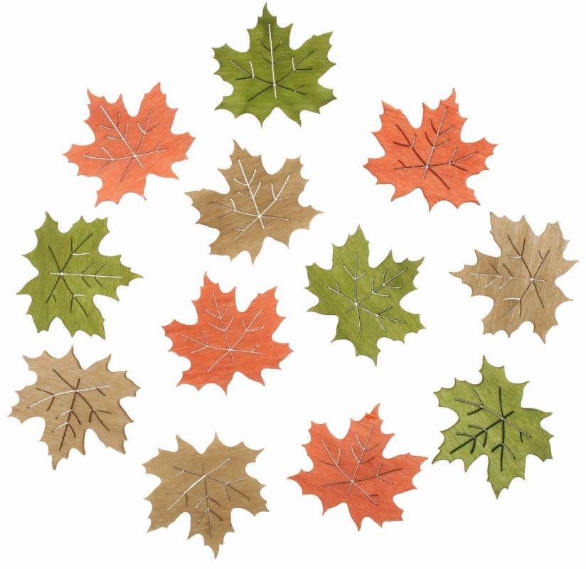 Výseky dřevěné - listy 4 cm, 3 barvy - 12ks ostatní