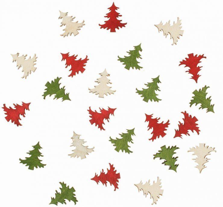 Výseky dřevěné - vánoční stromky 2 cm, 3 barvy - 24 ks