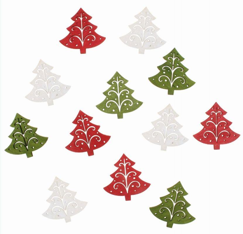Výseky dřevěné - vánoční stromky 4 cm, 3 barvy - 12 ks ostatní