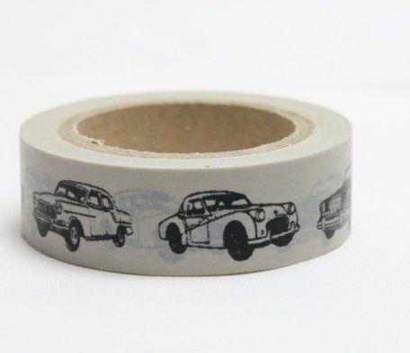 Washi Tape - dekorační lepicí páska - 10mx15mm - AUTA VETERÁNÍ