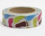 Washi Tape - dekorační lepicí páska - 10mx15mm - BAREVNÉ STOPY