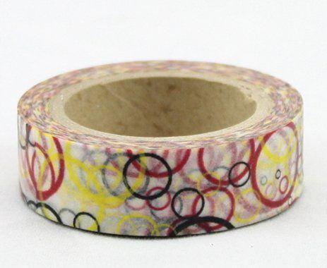 Washi Tape - dekorační lepicí páska - 10mx15mm - BAREVNÉ KRUHY